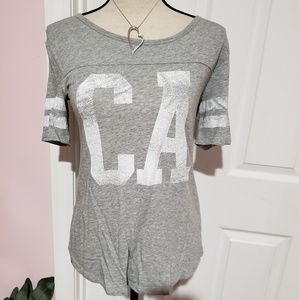 Old Navy  Gray CA distressed look Jersey shirt
